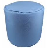 Canvas Mineral Blue Pouf 17x17